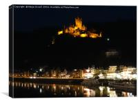 Cochem and Moselle at night                   , Canvas Print