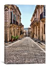 street of flowers, Noto, Canvas Print