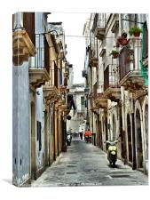 moped alley, Sicily, Canvas Print