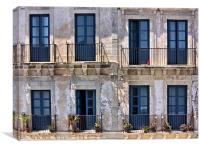 Sicillian balconies, Canvas Print