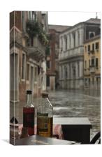 Venice Cafe in the Rain, Canvas Print