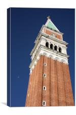 Campanile and moon, Canvas Print