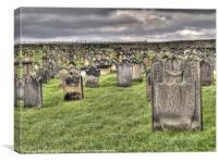 Gravestones in Whitby Church Yard, Canvas Print