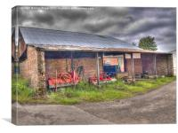 Long Marston Barn with Farm Implements, Canvas Print