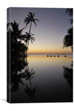 Sunset Reflected in pool in Maldives