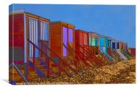 Cartoonised Beach Huts, Canvas Print