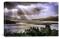 Sun Rays over Eilean Donan Castle, Canvas Print
