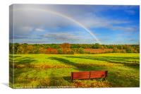 Rainbow Bench view, Canvas Print