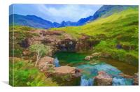 Fairy Pools of Skye Watercolour, Canvas Print
