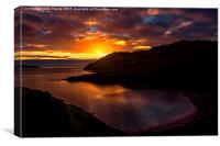 Camas nan Geall Sunset Ardnamurchan Scotland , Canvas Print