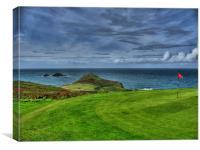 1st Green at Cape Cornwall Golf Club, Canvas Print