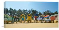 Beach Huts and Pine Trees, Canvas Print
