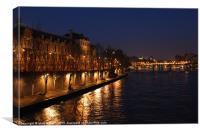 River Seine at Night, Canvas Print