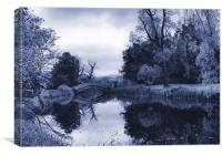 Blue Chinese Bridge Wrest Park, Canvas Print