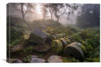 Bolehill Millstones in the Mist , Canvas Print