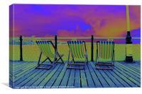 Funky Deckchairs, Canvas Print