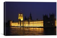 The Houses Of Parliment At Night, Canvas Print
