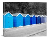 Blue Beach Huts, Canvas Print