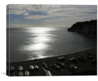 Devon Silver Sea, Canvas Print