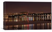 Dundee Tay Bridge at Night, Canvas Print