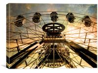 vintage ferris wheel, Canvas Print