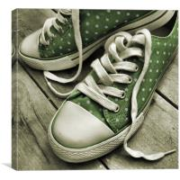 polka dot sneakers (vintage green), Canvas Print
