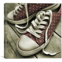 polka dot sneakers (vintage pink), Canvas Print