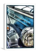 vintage blue mercedes, Canvas Print