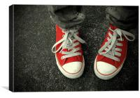 red sneakers, Canvas Print