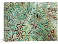 allium abstract (teal and burgundy), Canvas Print