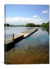 Black Swan Lake - wooden jetty, Canvas Print