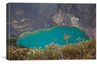 Irazu volcano blue lake, Canvas Print