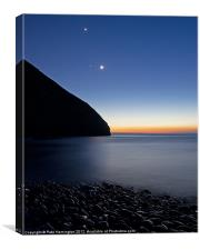 Moon and stars at Heddons Mouth, Canvas Print