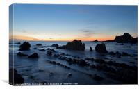 Last light on Blegberry beach, Canvas Print