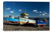 Fishing boats beached at Beer, Canvas Print