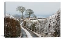 Hill top lane in snow, Canvas Print