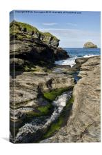 Trebarwith Strand in North Cornwall, Canvas Print