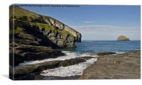 Trebarwith Strand in North East Cornwall, Canvas Print