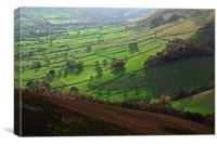 View of Edale valley from The Nab, Canvas Print