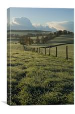 Frosted fields in Mid Devon, Canvas Print