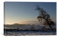 Snow and Sunrise - Devon, Canvas Print