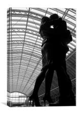 Statue at St Pancras Station, Canvas Print