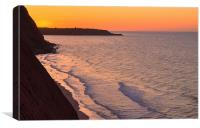 Sunrise over cliffs at Exmouth, Canvas Print