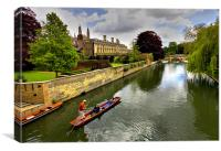 The Backs, Clare and  Kings College Cambridge, Canvas Print