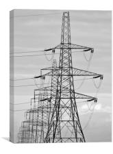 Pylons Stacking Across Suffolk, Canvas Print