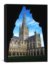 Norwich Cathedral from the Cloisters, Canvas Print