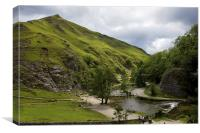 Dovedale Stepping Stones., Canvas Print