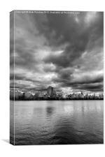 Central Park Lake, New York City Black White , Canvas Print