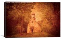 Old Textured Photo Of Bavarian Church in Alps, Canvas Print