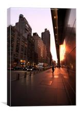 New York Street Sunset and Reflection, Canvas Print